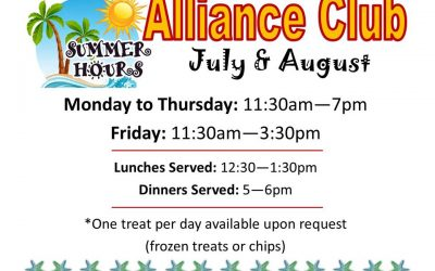 Summer Hours in The Alliance Club Drop-In